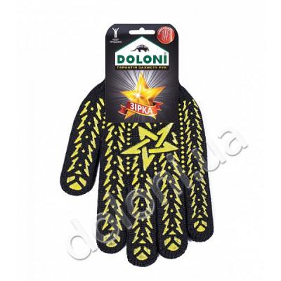 """4080 Рукавиці трикотажні """"Зірка"""" чорні з жовтим з пвх (Class 7, SIZE 11)"""